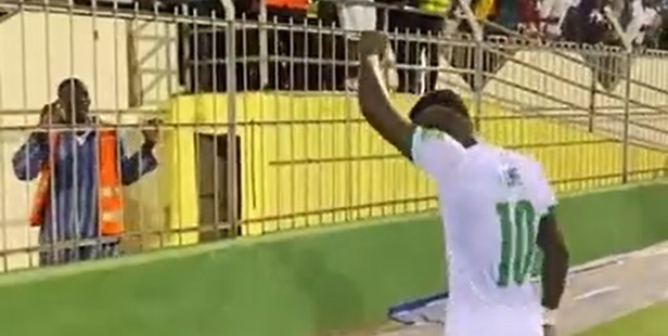 (Video) Sadio Mane captured dancing in front of fans after 4-1 thrashing of Namibia